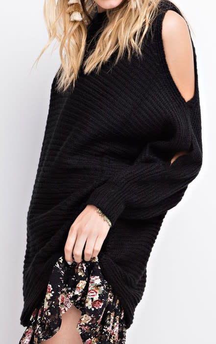 Cold Shoulder Dolman Sleeve Chunky Knit Oversized Sweater ...
