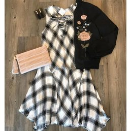 Plaid Dress W/ Distressed Hem & Tie Detail