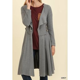 Open Front Cardigan With Buttoned Waist