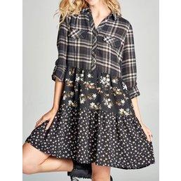 Long Sleeve Plaid Dress W/ Tiered Floral Print Skirt