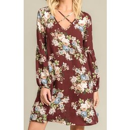 Long Sleeve Floral Printed Dress W/ Crossed Neckline