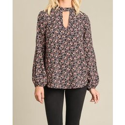 Long Slit Detail Sleeve Floral Top W/ Gigi Neck