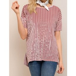 Velvet Mesh Mixture Top W/ High Low Hem & Side Slits