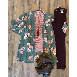 Short Sleeve Floral Print Kimono