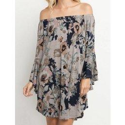 Bell Sleeve Off The Shoulder Floral Dress