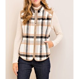 Plaid Zipper Vest W/ Side Pockets & Faux Fur Lining