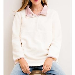 Button Down Detail Sweater W/ Contrasting Color Inside & Side Pockets