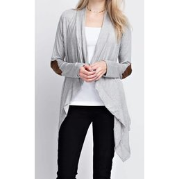 Long Sleeve Waterfall Cardigan W/ Elbow Patches