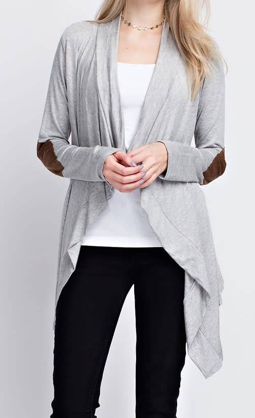 Long Sleeve Waterfall Cardigan W/ Elbow Patches - Tiffany Lane
