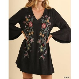 Suede Bell Sleeve V-Neck Dress W/ Floral Embroidery