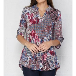 V Neck Blouse W/ Roll Up Button Detail On Sleeves
