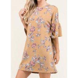 Trumpet Sleeve Floral Print Dress