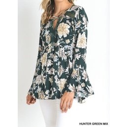 Long Bell Sleeve V Neck Floral Print Smocked Top W/ Criss Cross Detail