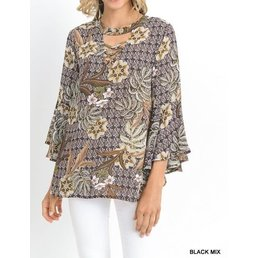 3/4 Bell Sleeve  Top W/ Criss Cross Detail & Keyhole On Neck