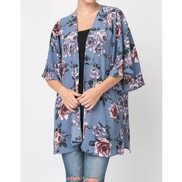 Bell Sleeve Vintage Floral Print Kimono