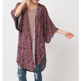 Vintage Feather Print Kimono W/ Side Slits