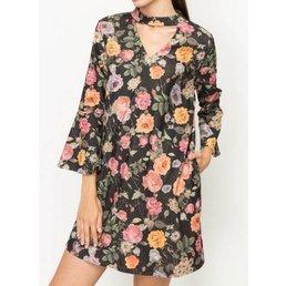 V Cut Bell Sleeve Floral Dress