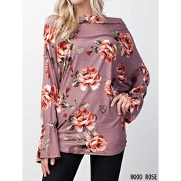 Floral Knit Top W/ Ruffled Sleeves