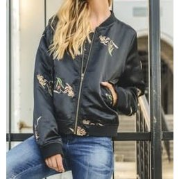 Embroidered Bomber Jacket W/ Buttoned Pockets & Zipper-Front