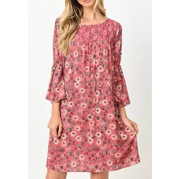 3/4 Bell Sleeve Floral Tunic Dress