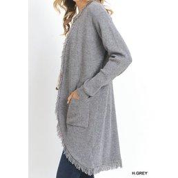 Long Sleeve Cardigan W/ Front Pockets & Fringe Hem