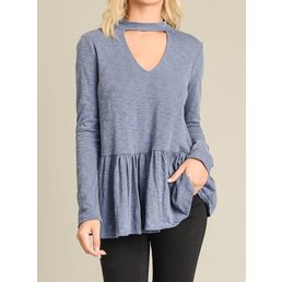 Long Sleeve Peplum Top W/ Front Keyhole