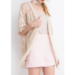 Sheer Lace Knit Embroidery Half Sleeve Oil Washed Cardigan