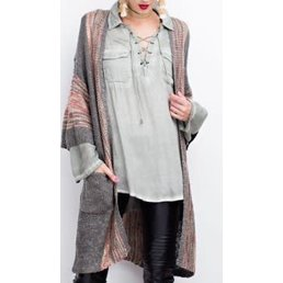 Wide Sleeve Multi Color Boho Sweater Cardigan W/ Pockets