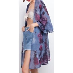 Wide Ruffle Sleeve Antique Rose Printed Kimono W/ Lace Up Back Detail