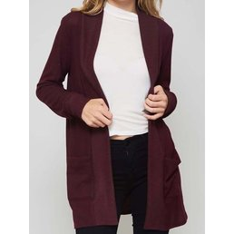 Long Sleeve  Cardigan W/ Front Pockets