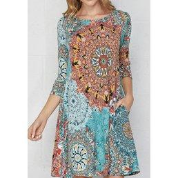 3/4 Sleeve Swing Dress W/ Pockets