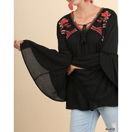 Bell Sleeve V Neck Top W/ Embroidery Details