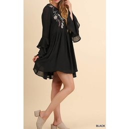 Layered Ruffle Sleeve Dress W/ Floral Embroidery
