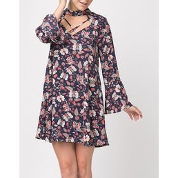 Long Bell Sleeve Eastern Floral A Line Dress