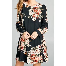 Long Sleeve Floral Print Swing Dress W/  Tied Ribbon Detail On The Back