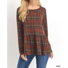 Long Sleeve Plaid Peplum Top W/ Elbow Patches