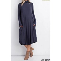Bamboo Turtle Neck Round Hem Dress W/ Pockets