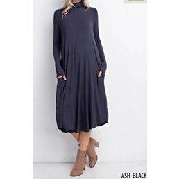 Bamboo Turtle Neck Round Hem Dress W/ Pockets