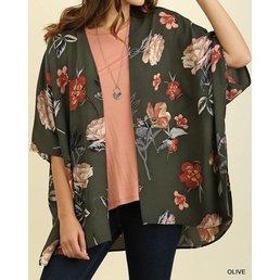 3/4 Sleeve Floral Print Kimono W/ Side Slits