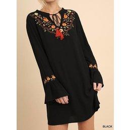Ruffle Bell Sleeve Embroidered Dress W/ Tassel Tie Neckline