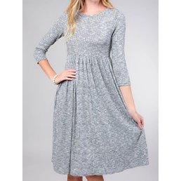 3/4 Sleeve Round Neck Empire Waist Dress W/ Pockets