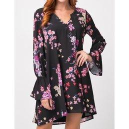 Floral Print Dress W/ Elastic Sleeves