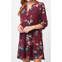Printed Button Down Blouse Dress