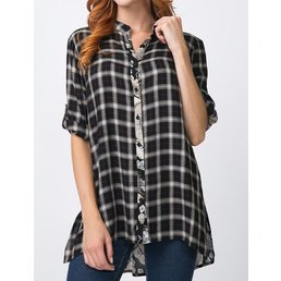 Button Up Plaid Blouse W/ Contrast On Back