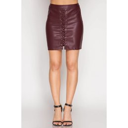 Faux Leather Mini Skirt W/ Front Lace Up Detail