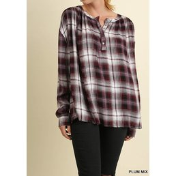 Plaid Pop Over Button Up Top W/ Roll Up Sleeves