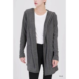 Ribbed Hooded Cardigan W/ Pockets