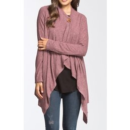 Long Sleeve One Button Wrap Cardigan W/ Asymmetrical Hemline