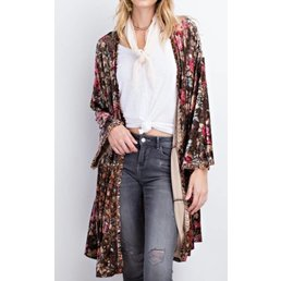 Floral Patterned Velvet Cardigan