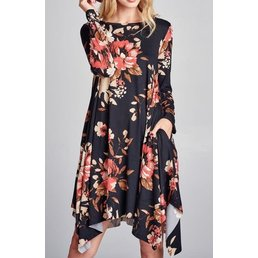 Long Sleeve Floral Trapeze Dress